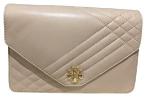 Tory Burch Kira Light Oak Kira Quilted Beige Clutch