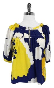 Yumi Kim Blue Yellow Print Silk Top
