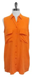 Equipment Orange Sleeveless Silk Top