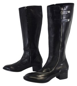 Alexander McQueen Black Leather Zip Zip Boots