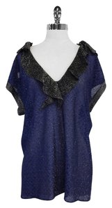 Missoni Blue & Black Metallic Chevron Top