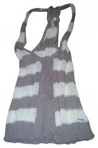 Hang Ten Beach Knit Sleeveless Buttons Top white, purple/gray