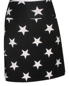 PINK Comfortable Mini Skirt Black with White stars