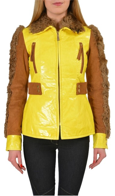 Item - Yellow/Brown Goat Hair Trimmed Multi-color Basic Jacket Size 4 (S)