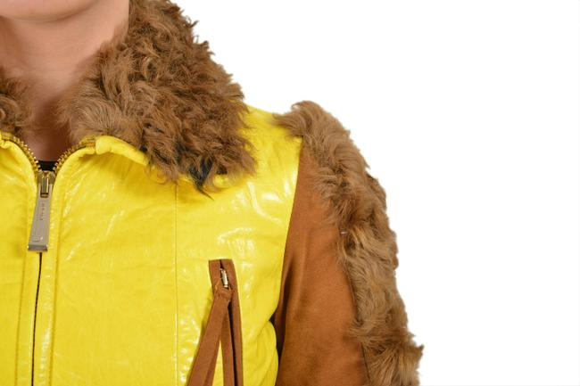 Just Cavalli Yellow/Brown Goat Hair Trimmed Multi-color Basic Jacket Size 4 (S) Just Cavalli Yellow/Brown Goat Hair Trimmed Multi-color Basic Jacket Size 4 (S) Image 2