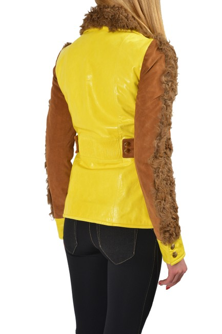 Just Cavalli Yellow/Brown Goat Hair Trimmed Multi-color Basic Jacket Size 4 (S) Just Cavalli Yellow/Brown Goat Hair Trimmed Multi-color Basic Jacket Size 4 (S) Image 3