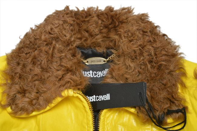 Just Cavalli Yellow/Brown Goat Hair Trimmed Multi-color Basic Jacket Size 4 (S) Just Cavalli Yellow/Brown Goat Hair Trimmed Multi-color Basic Jacket Size 4 (S) Image 4
