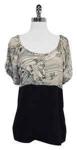 Vena Cava Taupe Black Print Silk Top