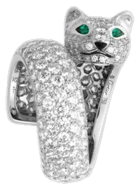 Item - Limited Edition Panthere Head Diamonds Emeralds Size 52 with Papers. Ring