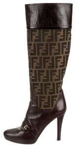 Fendi Brown Leather Canvas Brown, Black Boots