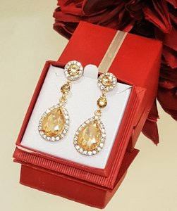 Wedding Champagne Austrian Crystal Tear Drop Earrings