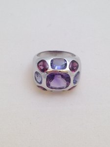 Chanel Chanel 18k White Gold and Amethyst Baroque Ring
