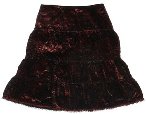 Cynthia Steffe Tiered Silk Skirt Burgundy