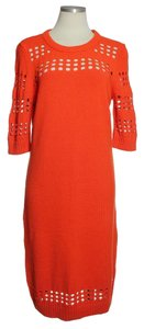 MILLY short dress Orange Sweater Perforated 3/4 Sleeve on Tradesy