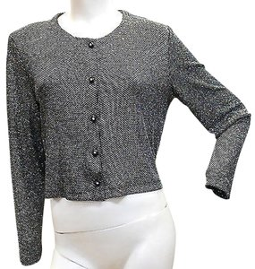 Ronni Nicole Shimmery Silver Stretchy Cocktail Top SILVER/BLACK