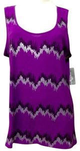 NY Collection Embellished Tee Top PURPLE