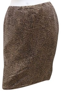 Rene Ruiz Animal Print Silk Pencil Skirt BROWN