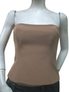 Miri Strapless Formal Cocktail Evening Silk Top Brown