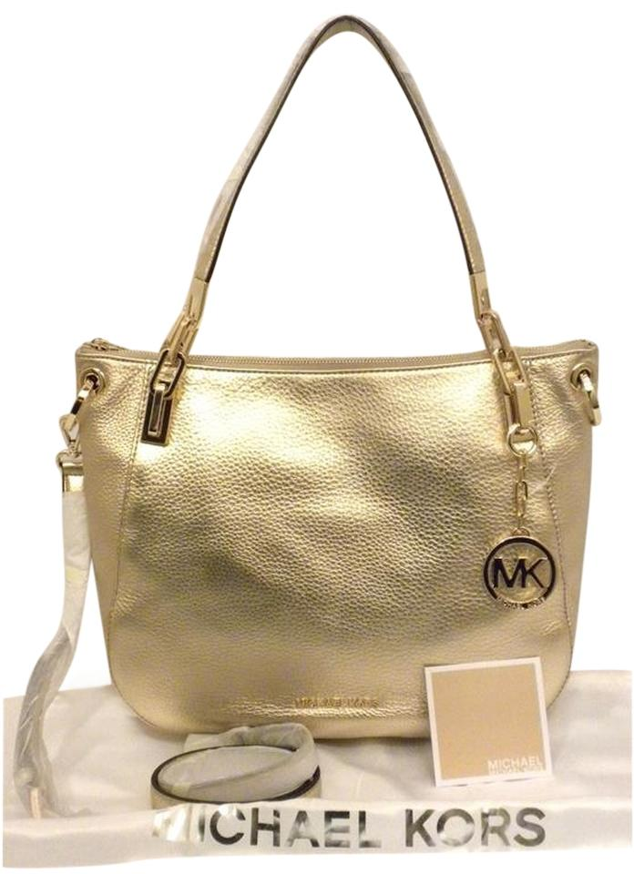 5e7bb465acef Michael Kors Large Brooke Convertible Tote Pale Gold Leather Shoulder Bag