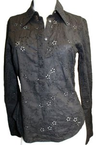 Elie Tahari Eyelet Blouse Cotton Petite Button Down Shirt BLACK