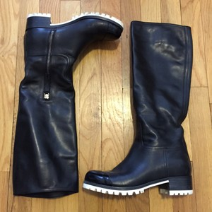 Miu Miu Leather Chunky Tall Black Boots