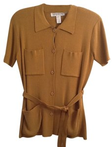 Jones New York Business Casual Belted Button Down Top Gold