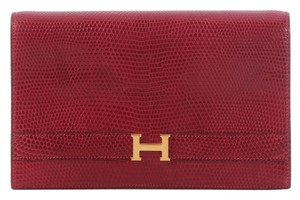 Hermès Burgundy Lizard Red Clutch
