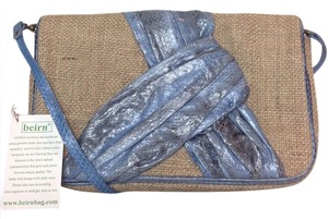 Beirn Snakeskin Crossody Natural / Blue Clutch