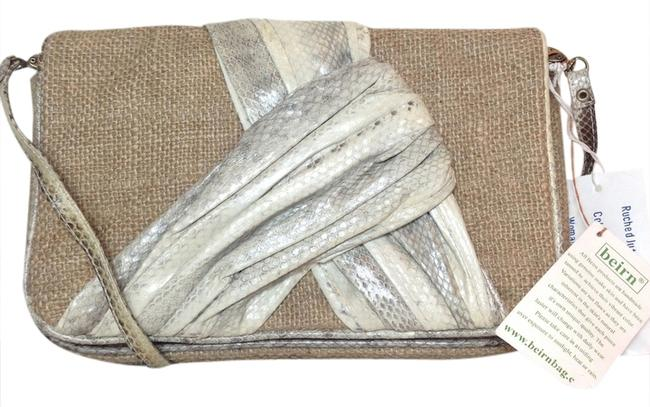 Item - Ruched Jute Convertible New Tags Natural / White Grey Genuine Snake Skin / Raffia Clutch