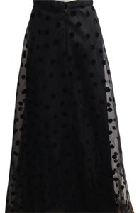 Chetta B. by Sherrie Bloom and Peter Noviello Long Gala Party New Years Holidays Tie Polka Dot Velvet Dance Date Night Night Out Maxi Skirt Black