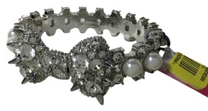 Betsey Johnson Betsey Johnson silver with pearls and rhinestones bracelet, bow on front, spikes yet girly and feminine