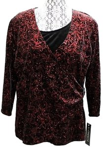 Elementz Velvet Stretchy Top BLACK/RED