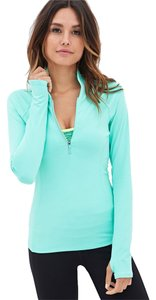 Forever 21 Forever 21 High Collar Running Jacket Workout Wear Active Aqua Green Blue
