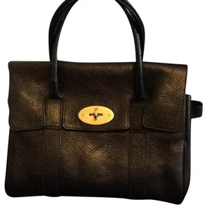 0030833f20 Mulberry Leather Fully Lined Satchel in Black