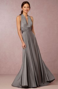 BHLDN Charcoal Polyester-spandex Jersey Ginger Convertible Feminine Bridesmaid/Mob Dress Size OS (one size)