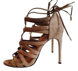 Forever 21 Cutout Suede Heel Taupe Natural Sandals