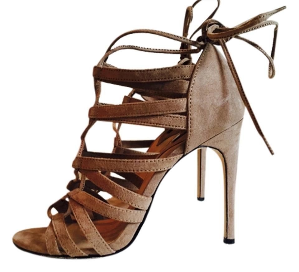 4a247f369ebb Forever 21 Taupe Natural Faux Suede Lace Up Pumps Heel Sandals Size ...