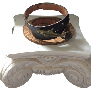 Hand Tooled Bahamian Leather Shark Belt Hand Tooled Brass Leather Fish Buckle Belt