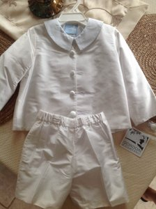Gordon & Company Boys White Silk Eaton Suit