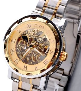 MCE Gold Face Men's Fashion Watch Stainless Band Skeleton-FREE SHIPPING