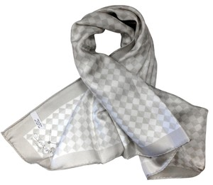 Breguet BREGUET WHITE & TIMBERWOLF GREY DIAGONAL CHECKERED SILK SCARF
