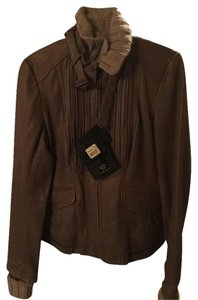 Mackage Plaid Lining Grey Tan New With Tags Oatmeal Leather Jacket