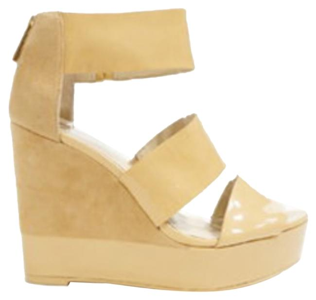 Item - Nude & Beige 'collie' Patent Leather Suede Strapy Wedges Platforms Size US 10.5 Regular (M, B)