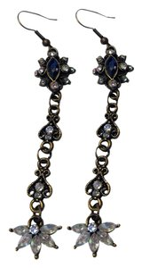 New Antiqued Gold Crystal 3 inch Dangle Earrings J1713