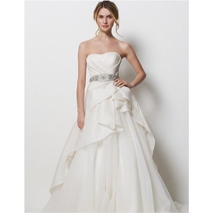 Watters Ivory Silk Gazar Formal Wedding Dress Size 6 (S)