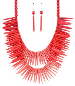 Unknown Chunky Layered Coral Spike Stone Long Fashion Necklace Set