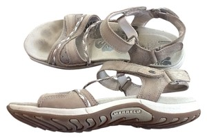 Merrell Anatomical Footbed Made To Fit A Women's Foot For Optimal Alignment Like New Velcro Straps For Ankle To Customize Fit taupe and grey Sandals