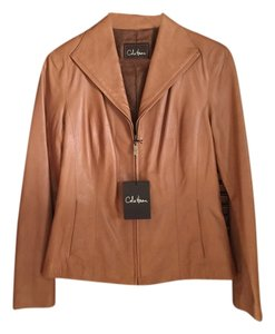 Cole Haan Leather New With Tags Tan Amber Leather Jacket