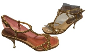Prada All Leather Silver Metal Heels Strappy Italian E37.5 Brown Sandals