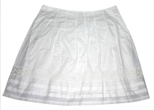 BCBGMAXAZRIA Eyelet Detail Side Zip Skirt white